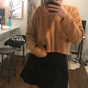 Tan sweater slightly cropped
